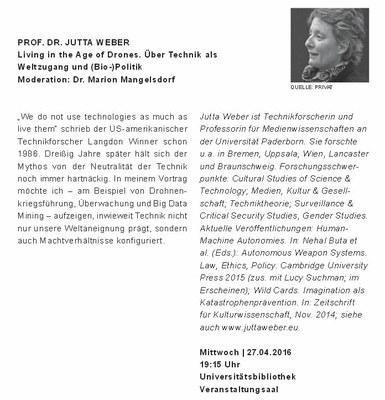 !Vortrag ENTFÄLLT leider wg. Krankheit! Prof. Dr. Jutta Weber: Living in the Age of Drones. Über Technik als Weltzugang und (Bio-)Politik
