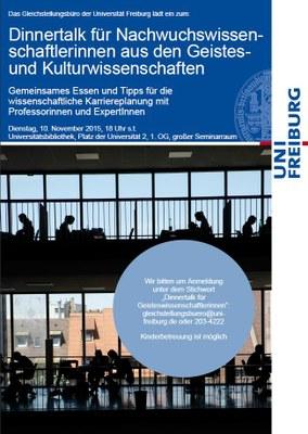 Jetzt anmelden: Dinnertalk für Nachwuchswissenschaftlerinnen aus den Geistes- und Kulturwissenschaften am 10. November 2015 um 18 Uhr s.t.