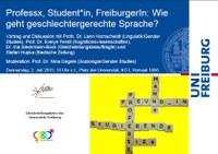 Vortrag und Diskussion: Professx, Student*in. FreibugerIn: Wie geht geschlechtergerechte Sprache?