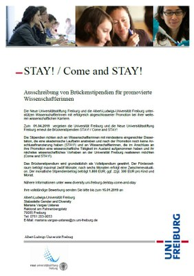Jetzt bewerben: Brückenstipendium STAY! / Come and STAY!