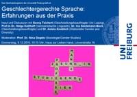 Geschlechtergerechte Sprache: Erfahrungen aus der Praxis, Donnerstag, 8.12., 19:15 Uhr