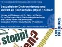 """""""Sexualisierte Diskriminierung und Gewalt an Hochschulen. (K)ein Thema!?"""", Vortrag und Diskussion mit Dr. Katrin List am Montag, 9. Februar 2015, 18 Uhr c.t., Hörsaal 1199"""