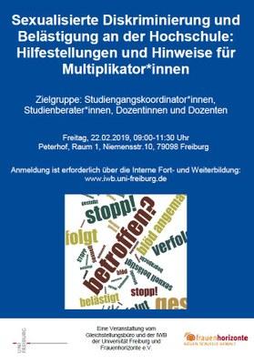 Jetzt anmelden: Workshop zu sexualisierter Diskriminierung am 22.02.2019